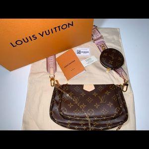 Authentic Louis Vuitton multi pochette rose purse